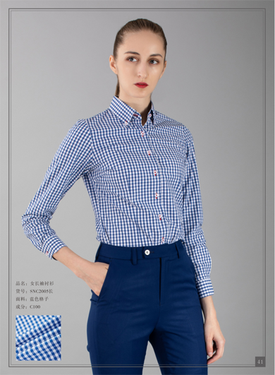 Womens blue plaid shirt
