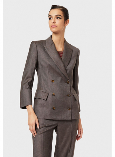 Dark brown double breasted womens suit