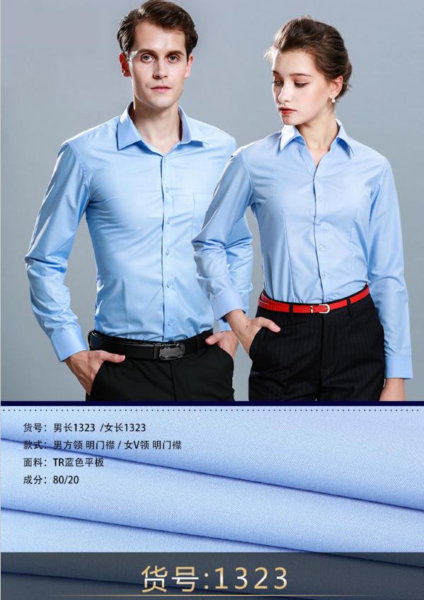 蓝色平板男女衬衣