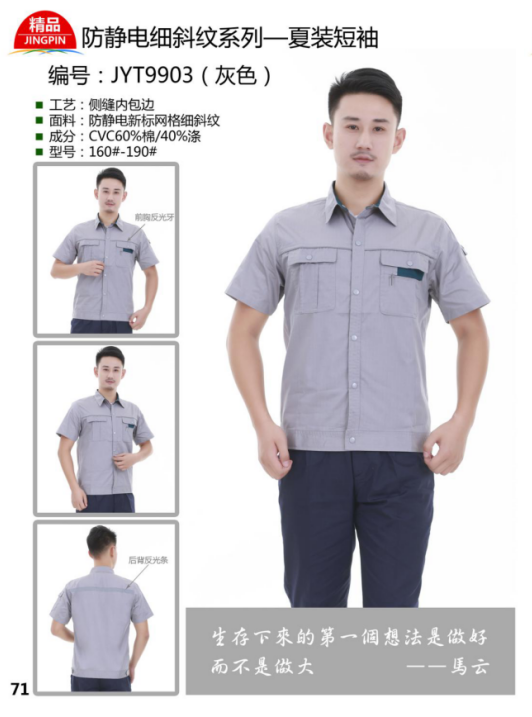 Antistatic fine Twill Short Sleeve work clothes