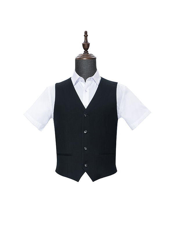 Four button black vest for men