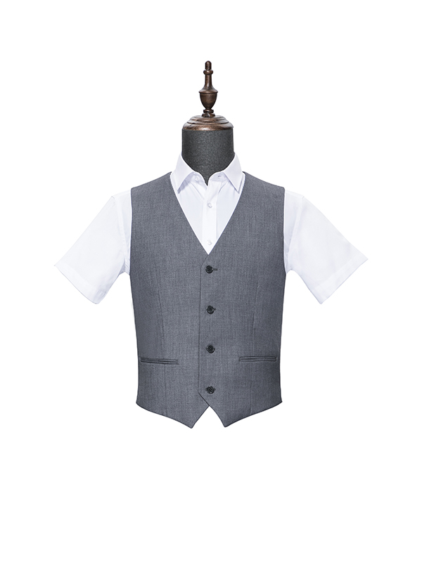 Four button grey vest for men