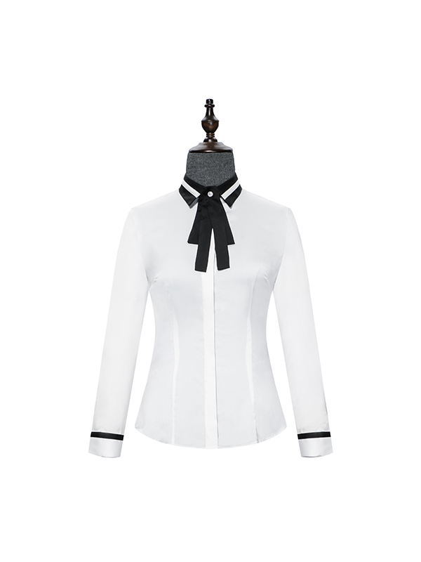 White blouse with bow tie