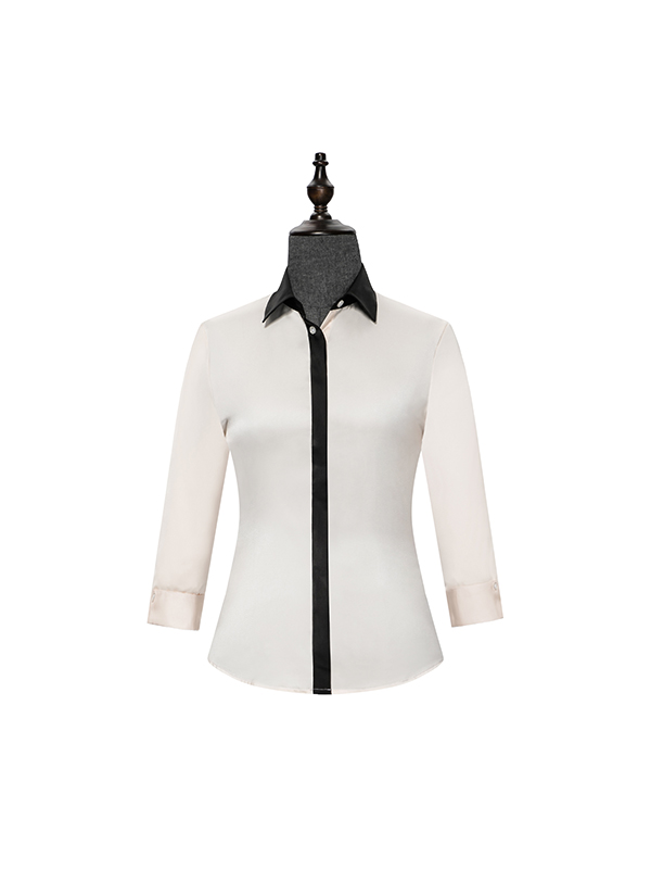 Womens shirt with side contrast Beige
