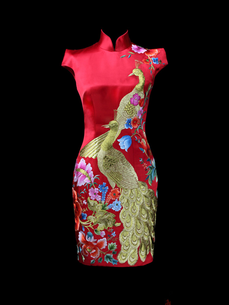 Red embroidered cheongsam