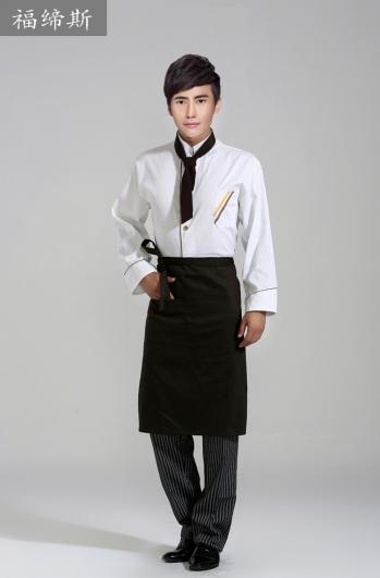 立领异色镶边长袖中式酒店厨师制服