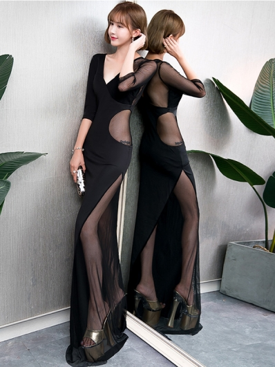 黑色镂空礼服裙