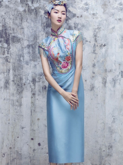 Lake blue tassel embroidered cheongsam